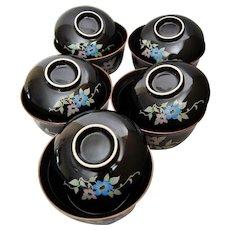 Chakaiseki Japanese Lidded Bowls, Set of 10 Tea Cups, Rice, Soup Bowls, Black Footed Pottery