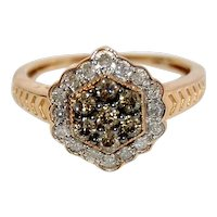 Estate 1/2 ct Argyle White and Champagne Diamond Cluster Halo Ring