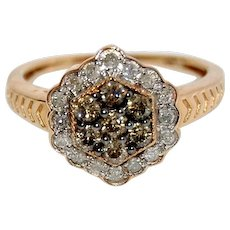 White and Champagne Diamond Cluster Ring 0.5 cts