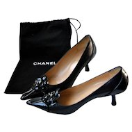Chanel Camellia Black Leather Shoes