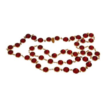 Chanel Ruby Red Bevel Crystal Sautoir Necklace Vintage 1980s