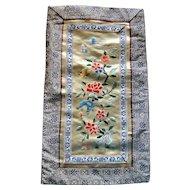 1949 Chinese Yue Embroidery Silk Panel Needlework Art Flowers Butterflies Landscape