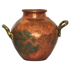 Fagioli Handled Copper Pot, Ancient Cairoware, Hand handled Kitchen Jar