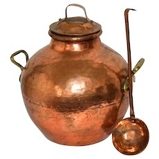 Ancient Egyptian Copper Pot with Cover and Ladle Authentic Middle East Cooking Lidded Bowl