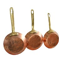 Rustic Mediterranean Copper Cookware Set with Bronze Handles Hand hammered Skillets