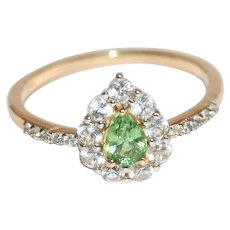 Untreated Demantoid Green Garnet Pear Shape Ring Gemstone of the Czars
