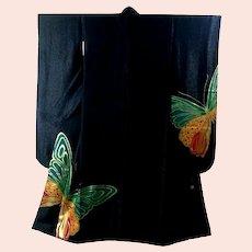 Vintage Signed Japanese Designer Kimono Black Furisode Butterflies