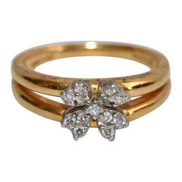 Vintage 18K Gold Diamond Cluster Engagement Ring Round Cut Diamond Four Clover Leaf Ring