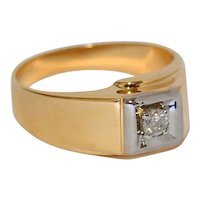 Diamond Solitaire 14K Yellow Gold Ring 1/5cts 5.8 grams