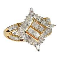 1ct Diamond Ring Baguettes Square Star Shape