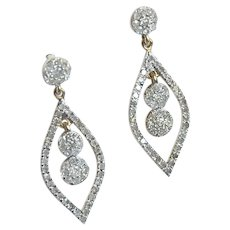 Half Carat Diamond Yellow Gold Drop Earrings