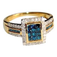 Blue and White Natural Diamond Cluster Ring 1ctw Squares Rounds