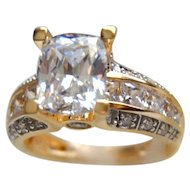 Simulated Diamond Engagement Ring YG Vermeil