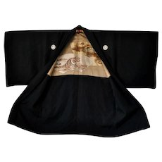 Authentic Men's Silk KIMONO Haori with Dragon and Tiger Black Suit Jacket