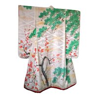 Antique Kimono Silk Damask Uchikake with Cherry Blossoms and Trees