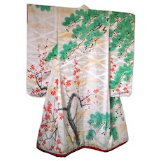 Antique Kimono Silk Uchikake with Cherry Blossom and Trees