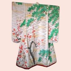 Antique Kimono Silk Damask Uchikake with Cherry Blossoms and Trees