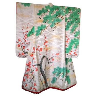 19th Century Edo Kimono Silk Uchikake with Cherry Blossom and Trees