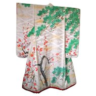 Edo Period Kimono Silk Damask Uchikake with Cherry Blossoms and Trees