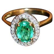 Luxury Emerald with Australian Diamonds 10K Gold Halo Ring 1.07ctw