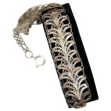 Egyptian Silver Lotus Flower Sesen Filigree Bracelet Unique Handmade
