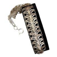 Lotus Flower Sesen Filigree Silver Bracelet 1930s Handmade
