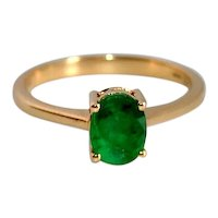Emerald Solitaire 18K Yellow Gold Ring, Colored Natural Gemstones, 3.15 grams