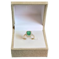 Emerald and Diamond14K Gold Engagement Ring