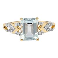 Emerald Cut Aquamarine Ring with Diamond Accents 2cts