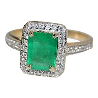 Emerald 14K YG Engagement Ring Emerald Cut and Diamonds Accents, 1.50 tcw