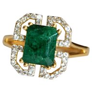 Natural Opaque Emerald Statement Ring