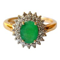 Natural Emerald 1.60cts 14K Gold Halo Engagement Ring White Sapphire Accents