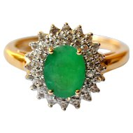 Genuine 2cts Emerald and White Sapphire 14K Gold Halo Ring