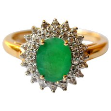 Genuine Emerald and White Sapphire 14K Gold Halo Ring 2cts