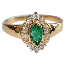 Emerald and Diamond 14K Gold Ring Marquise, Rounds, Baguette Cut