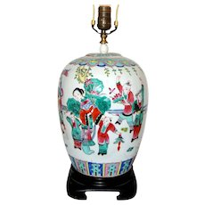 Chinese Famille Verte Melon Jar Mounted Lamp Oriental Pottery Table Lighting Republic Period (1912-1949)
