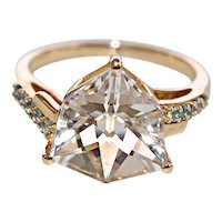 4.56ct Fancy Cut Untreated White Quartz Engagement Ring