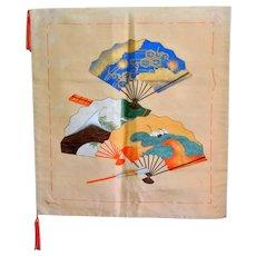 Auspicious Silk Painted Brocade Japanese Fukusa Tapestry Tea Ceremony Mat