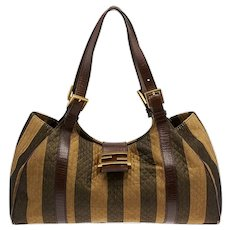FENDI Bag Baguette Stripe Large Boston FF Logo Tobacco