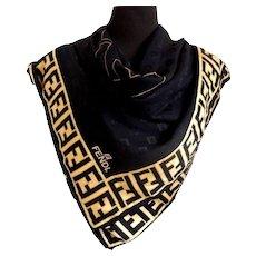 Fendi FF Logo Black Silk Scarf