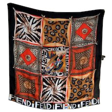 Fendi Silk Scarf Shawl Wrap with Logo