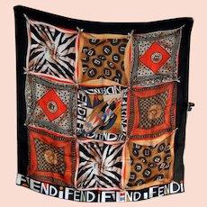 Fendi Silk Scarf Shawl Wrap with Logo