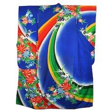 Luxurious Japanese Silk Floral Kimono Furisode Long Cover up Cloak