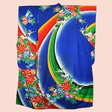 Japanese Kimono Bridal Furisode Modern Silk Floral With Gold Embroidery
