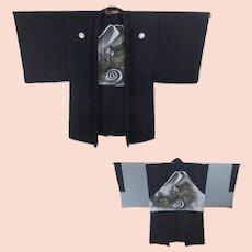 Japanese Silk Montsuki Haori Men's Kimono