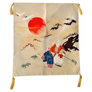 Takasago-noh Japanese Fukusa, Silk Embroidery, Tapestry, Chinoiserie, Asian Art