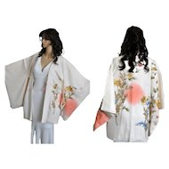 Japanese Silk Haori Kimono, Floral Gold Embroidery