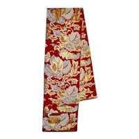 Obi Japanese Double Sided Silk Red Gold Floral