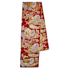 Japanese Double Sided Silk obi Red Gold Floral