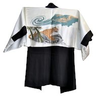 Men's Haori Silk Kimono jacket with Dragon and Tiger 1950-1960